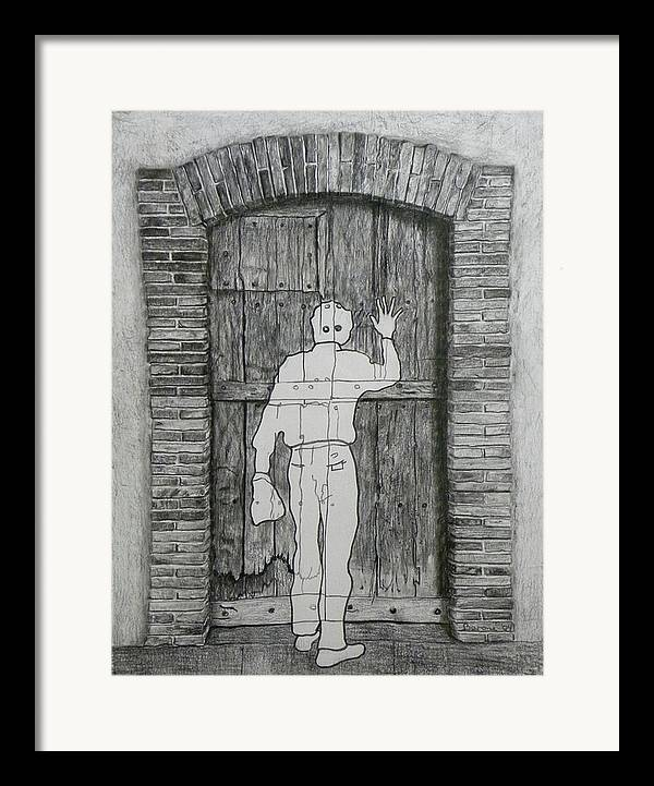 Etant Donnes Framed Print featuring the drawing Being Taken by Riccardo Alone