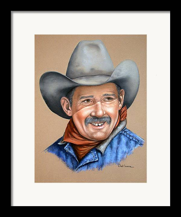 People Framed Print featuring the painting Happy Cowboy by Deb Owens-Lowe