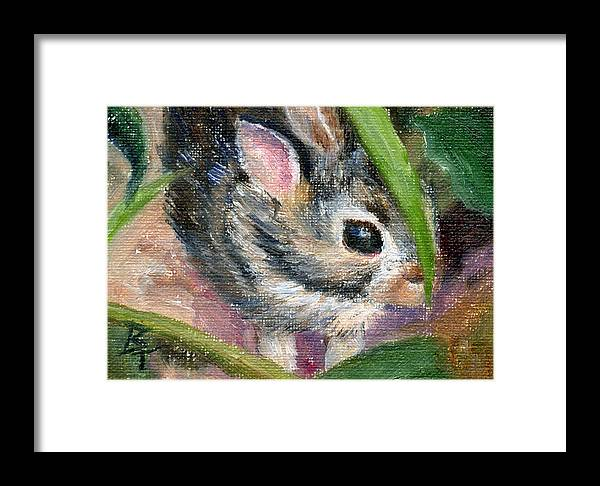 Bunny Framed Print featuring the painting Hiding Aceo by Brenda Thour