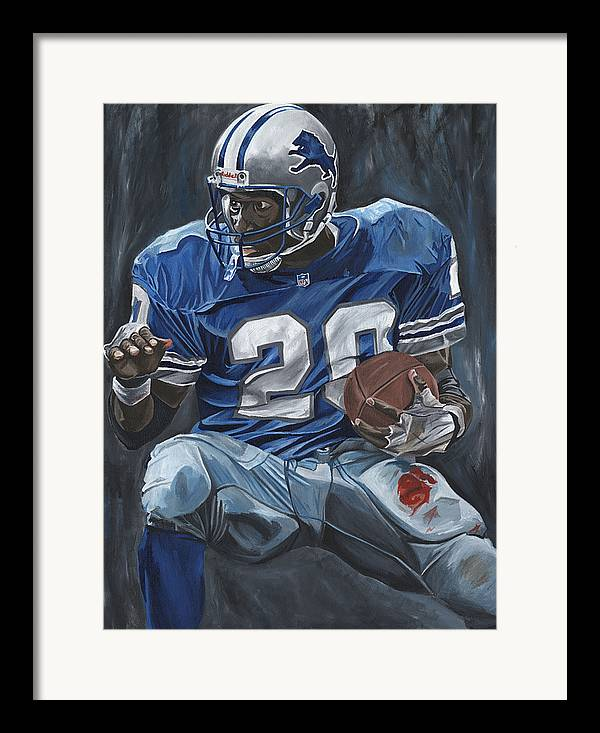 Barry Sanders Detroit Lions Nfl Football Sports Lion David Courson Framed Print featuring the painting The Cutback by David Courson