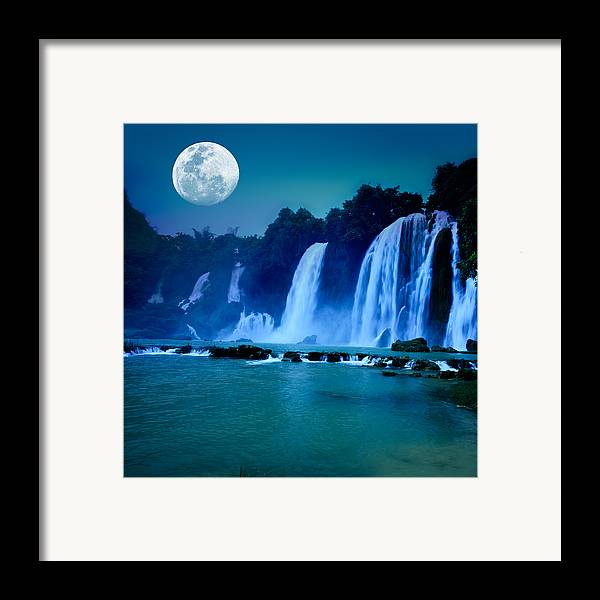 Forest Framed Print featuring the photograph Waterfall by MotHaiBaPhoto Prints