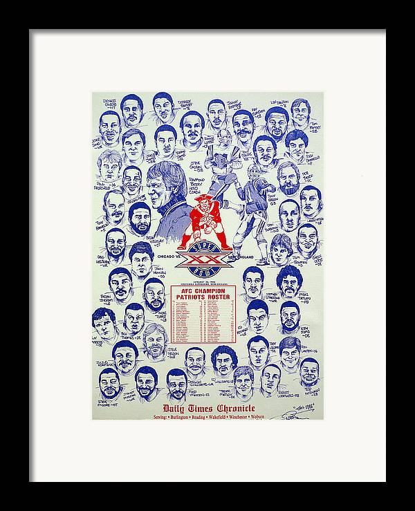 Nfl Framed Print featuring the drawing 1985 New England Patriots Superbowl Newspaper Poster by Dave Olsen