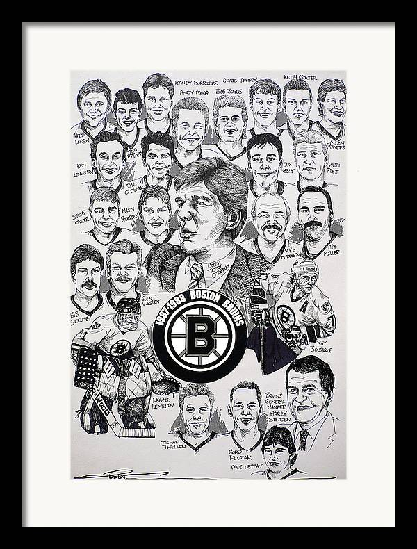Championship Poster Framed Print featuring the drawing 1988 Boston Bruins Newspaper Poster by Dave Olsen