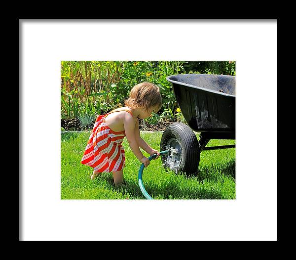 Gardening Framed Print featuring the photograph A Big Help. by John Greaves