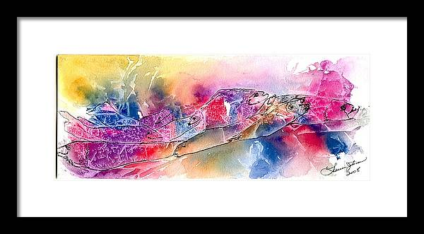 Fish Framed Print featuring the painting A Rainbow Of Salmon by Laura Johnson