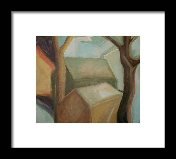 Suburban Framed Print featuring the painting Abstract Backyard by Ron Erickson