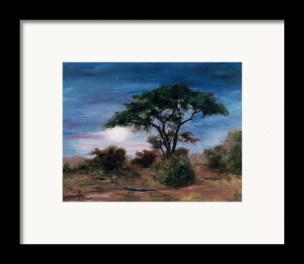 Moon Framed Print featuring the painting African Moon by Brenda Thour