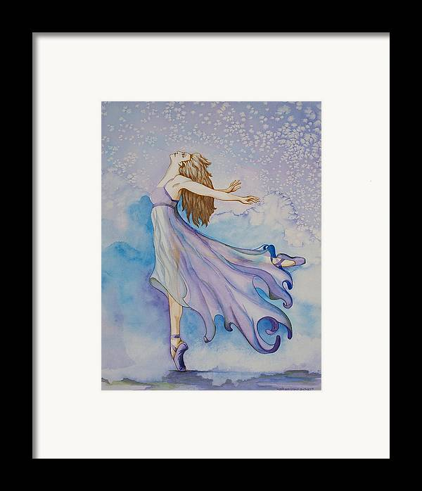 Ballet Dancer Framed Print featuring the painting Ballerina Performs by Joyce Hutchinson