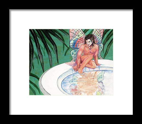 Butterfly Framed Print featuring the painting Bath by Bobby Jones