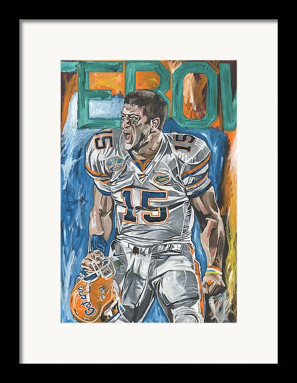 Tim Tebow Florida Gators Bcs Champions David Courson Sports Art Painting Framed Print featuring the painting Bcs Champions by David Courson
