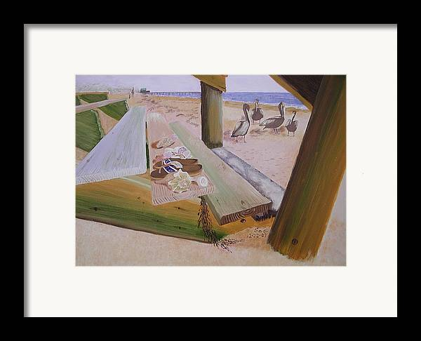Beach Landscape Framed Print featuring the painting Beachcomber by Sodi Griffin