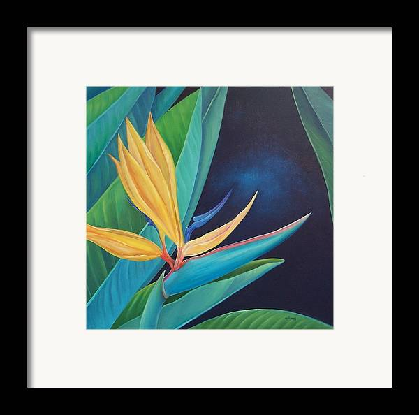 Flower Framed Print featuring the painting Bird Of Paradise by Elsa Gallegos