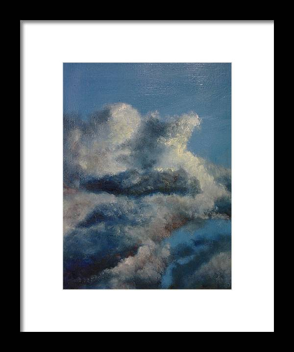 Blue Framed Print featuring the painting Blu 2 by John Busuttil Leaver