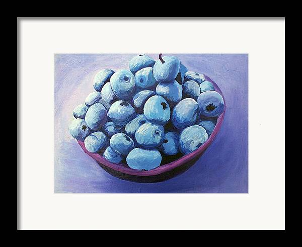 Blueberries Framed Print featuring the painting Blueberries by Karen Aune
