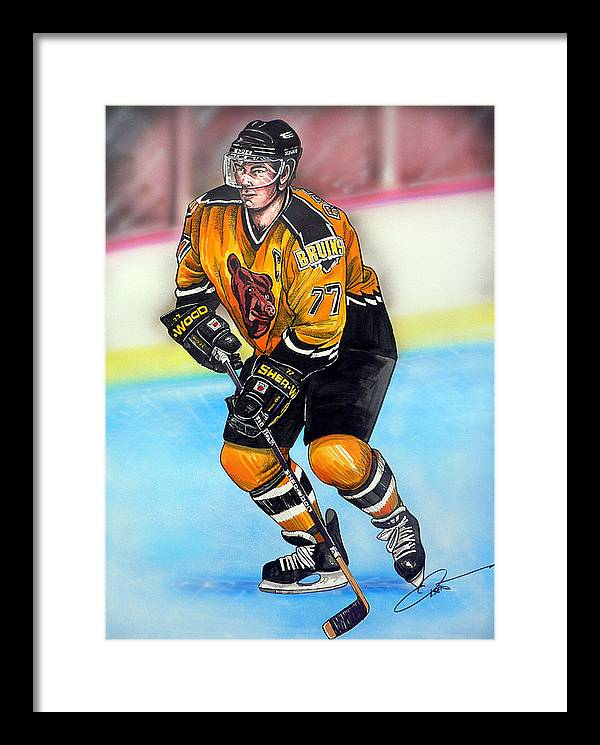 Hockey Framed Print featuring the painting Boston Bruins Ray Bourque by Dave Olsen