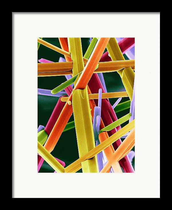 Crystal Framed Print featuring the photograph Caffeine Crystals, Sem by Dr Jeremy Burgess