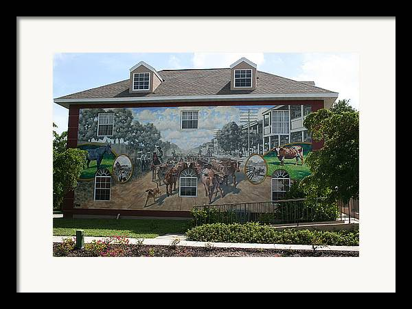 Mural Framed Print featuring the painting Cattle Drive Down Marion Avenue 1903 by Michael Vires