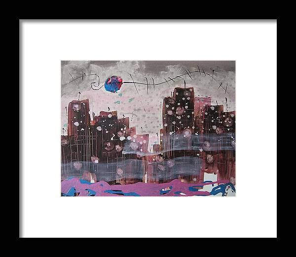 Brown Paintings Framed Print featuring the painting Cityscape by Seon-Jeong Kim