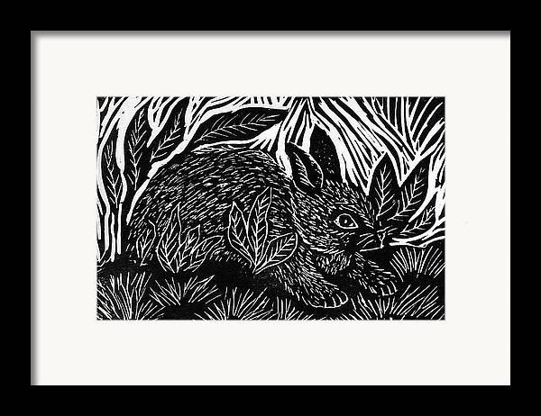 Lino Framed Print featuring the mixed media Cottontail Block Print by Ellen Miffitt