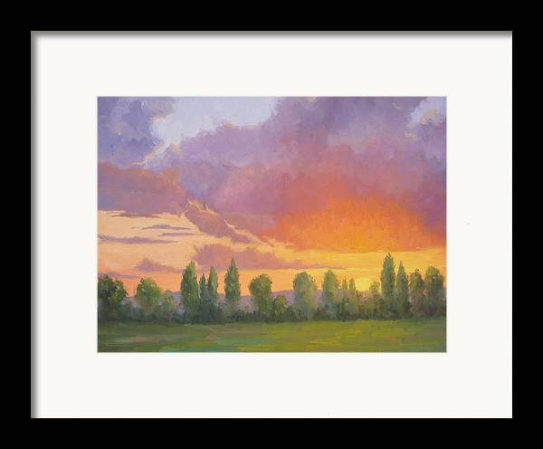 Sunset Framed Print featuring the painting Crescendo by Bunny Oliver