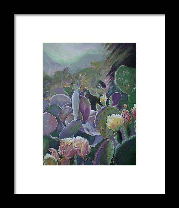 Cactus Framed Print featuring the painting Desert Life by Aleksandra Buha