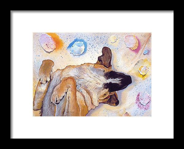 Sleeping Dog Framed Print featuring the painting Dog Dreams by Pat Saunders-White