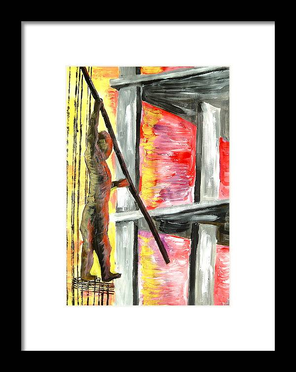 Man Framed Print featuring the painting Doha Construction by Sabrina Phillips