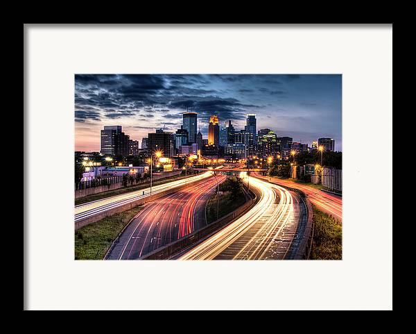 Horizontal Framed Print featuring the photograph Downtown Minneapolis Skyscrapers by Greg Benz