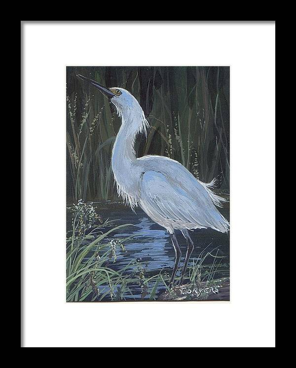 Egret Framed Print featuring the painting Egret by Peggy Conyers