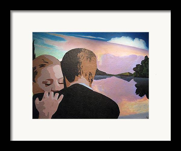 Goodbye Framed Print featuring the painting Figures In A Landscape by Geoff Greene
