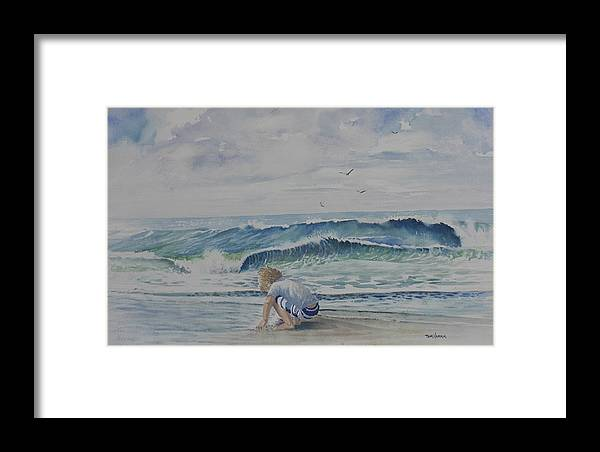 Ocean Framed Print featuring the painting Finding Sand Crabs by Tom Harris