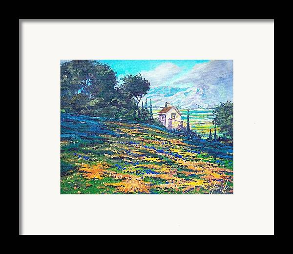 Flower Hill Framed Print featuring the painting Flower Hill by Sinisa Saratlic
