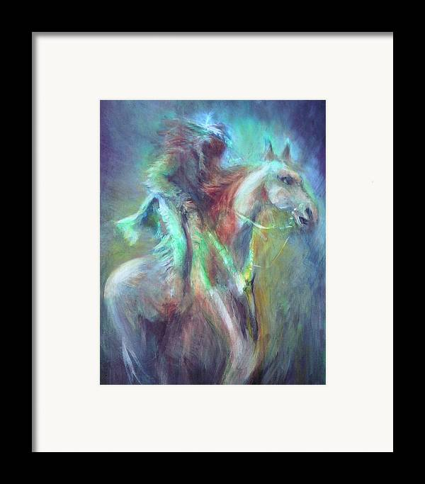Native American Framed Print featuring the painting Ghost Rider by Elizabeth Silk