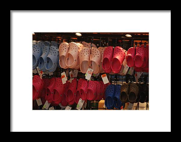 Pop Art Framed Print featuring the photograph Hanging Crocs by Rob Hans