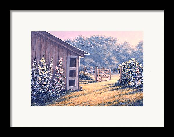 Flowers Framed Print featuring the painting Holly Hocks by Richard De Wolfe