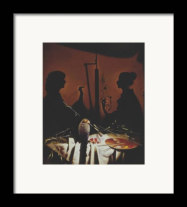 Figures Framed Print featuring the painting In Atelier by Andrej Vystropov