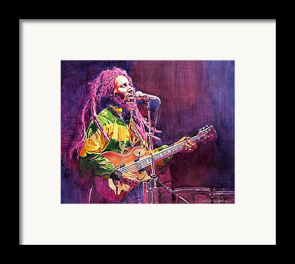 Bob Marley Framed Print featuring the painting Jammin - Bob Marley by David Lloyd Glover