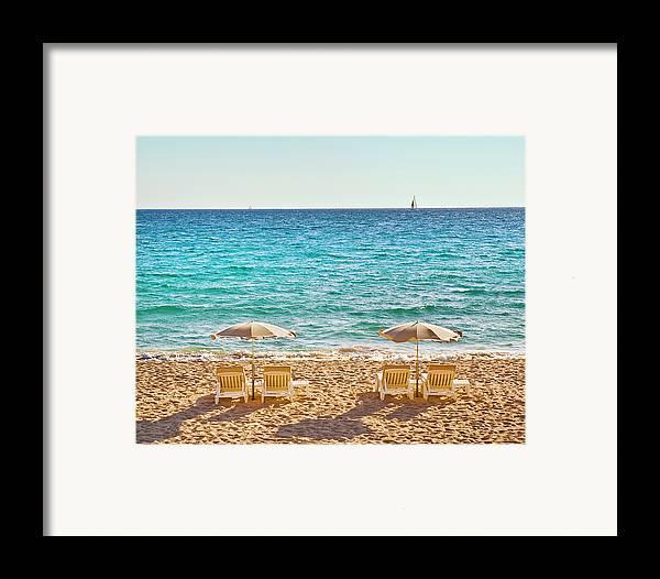 Horizontal Framed Print featuring the photograph La Croisette Beach, Cannes, Cote D'azur, France by John Harper