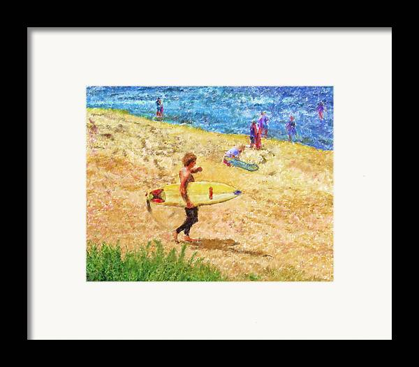 Surfers Framed Print featuring the mixed media La Jolla Surfers by Marilyn Sholin