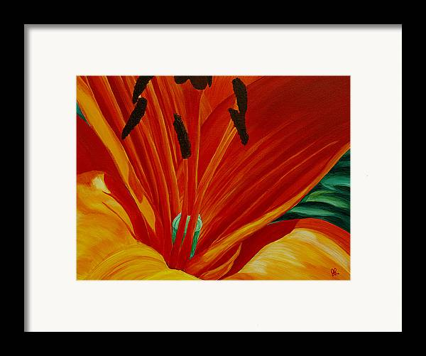 Macro Flower Framed Print featuring the painting Lilly Vertigo by Julie Pflanzer