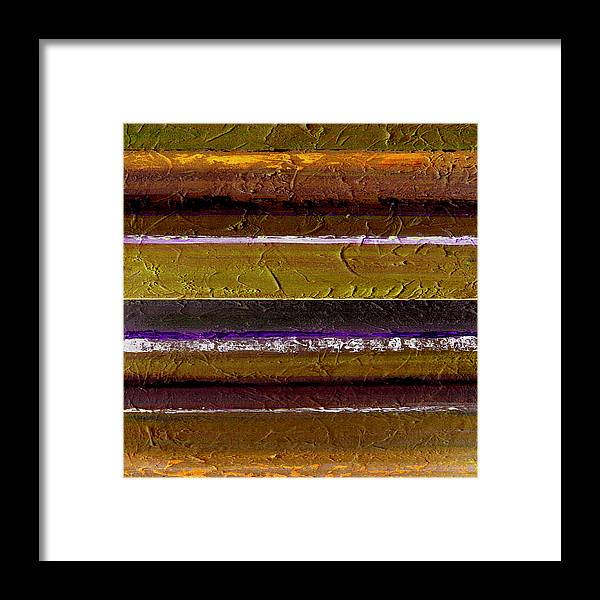 Abstract Framed Print featuring the painting Lined Up by Ruth Palmer