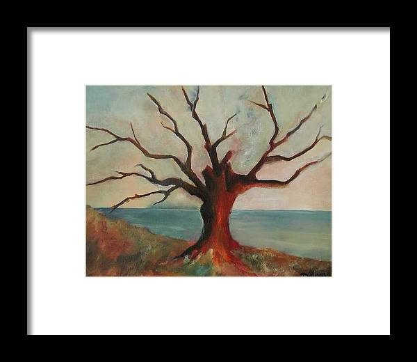 Oak Tree Inspired By Katrina Damage Along The Coast Framed Print featuring the painting Lone Oak - Gulf Coast by Deborah Allison