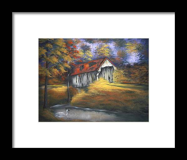 Old Barns Framed Print featuring the painting Lone Trumpeter by Ruth Bares