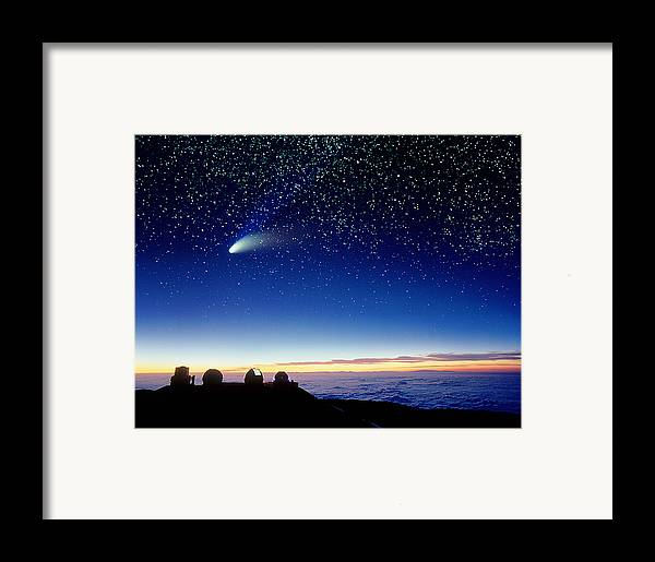 Comet Hale-bopp Framed Print featuring the photograph Mauna Kea Telescopes by D Nunuk and Photo Researchers
