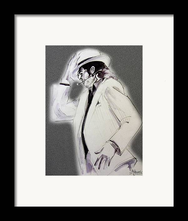 Michael Jackson Framed Print featuring the drawing Michael Jackson - Smooth Criminal In Tii by Hitomi Osanai