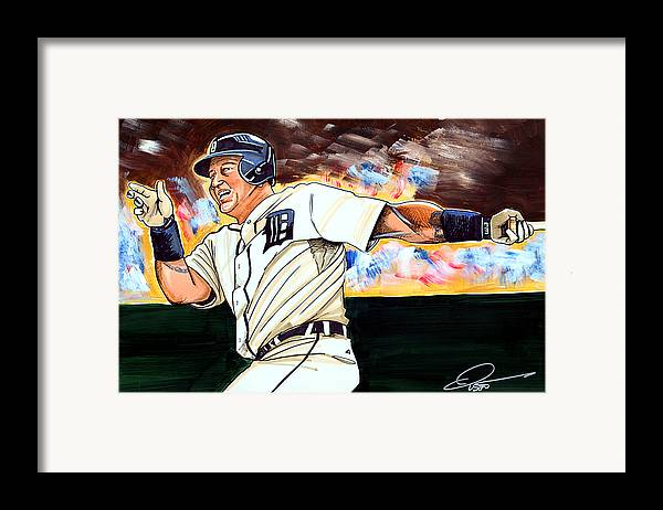 Miguel Cabrera Framed Print featuring the drawing Miguel Cabrera by Dave Olsen