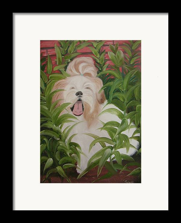 Dog Framed Print featuring the painting Pflower Nap by Sodi Griffin
