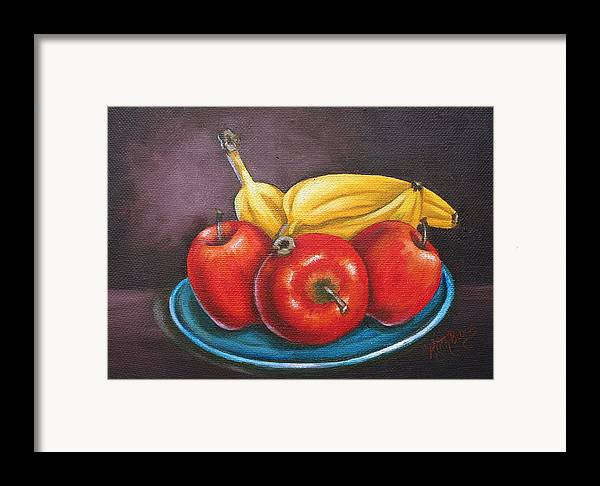 Banana Framed Print featuring the painting Platter Of Fruit by Ruth Bares