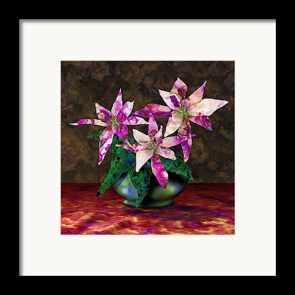 Floral Framed Print featuring the digital art Poinsettia Still Life by Gae White