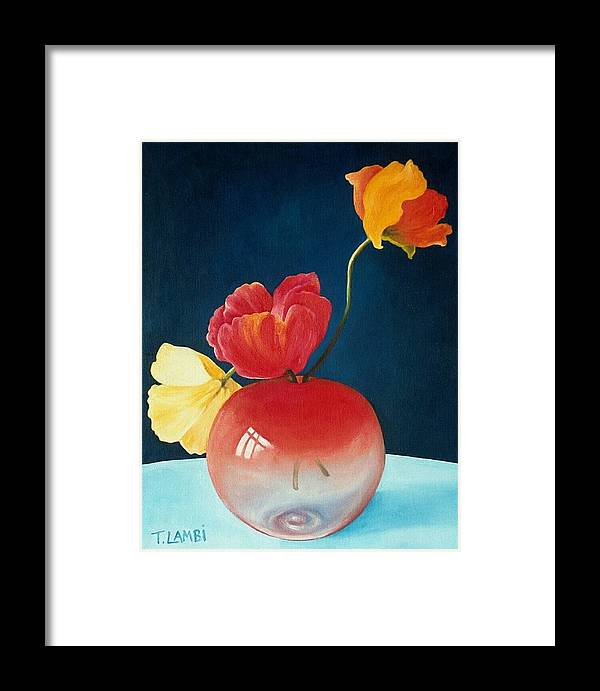 Still Life Framed Print featuring the painting Poppies by Trisha Lambi